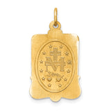 Miraculous Medal Rectangular in 14K Yellow Gold 22 x 12mm - Roxx Fine Jewelry