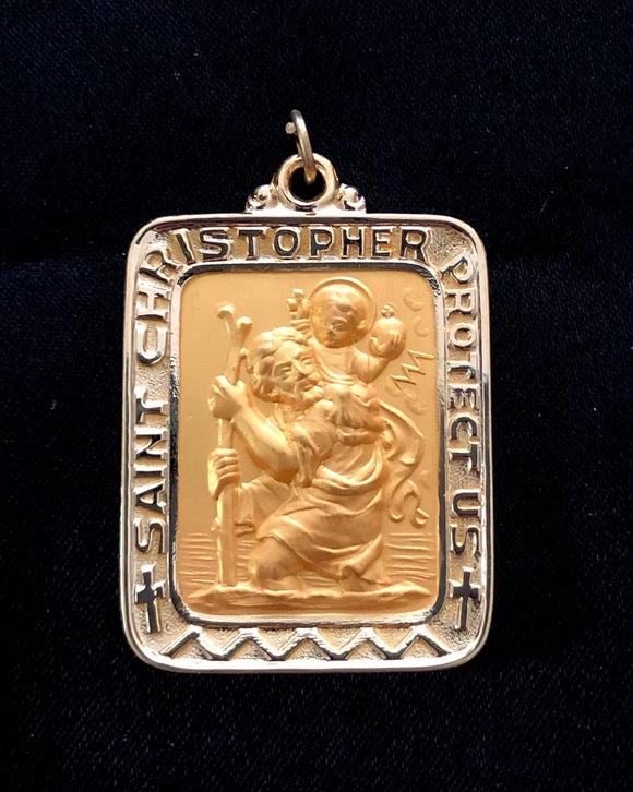 St. Christopher Medal in 14K Yellow Gold - Roxx Fine Jewelry