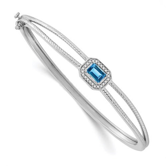 Blue Topaz and Diamond Hinged Bangle Bracelet in 14K Gold