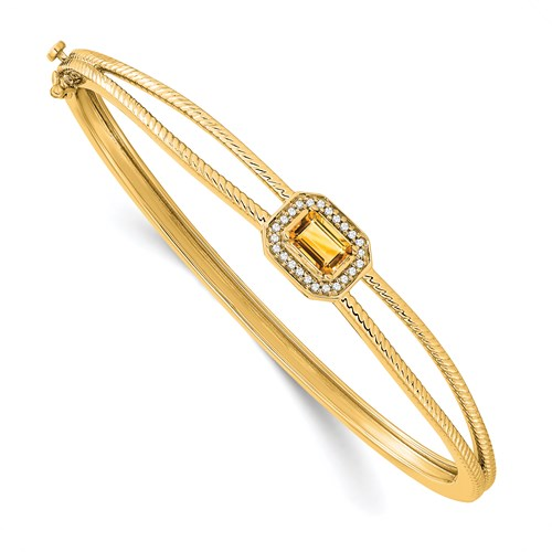 Citrine and Diamond Hinged Bangle Bracelet in 14K Gold