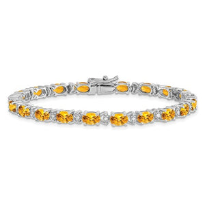 Citrine and Diamond 10.90 Ct Line Bracelet in 14K White Gold