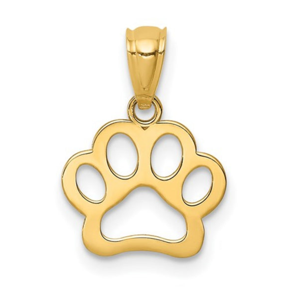 Paw Print Pendant in 14K Yellow Gold