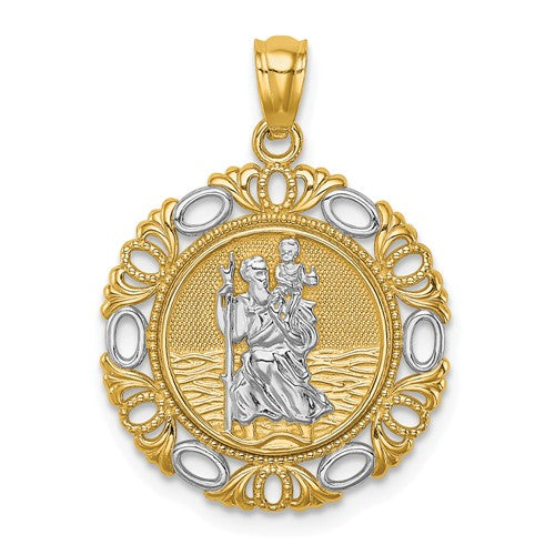 St. Christopher Medal Charm Two Tone 14K White and Yellow Gold