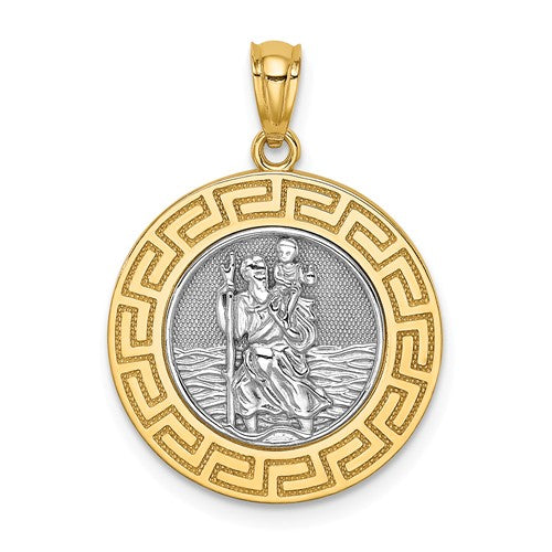 St. Christopher Medal Charm Greek Key Edge Two Tone 14K White and Yellow Gold