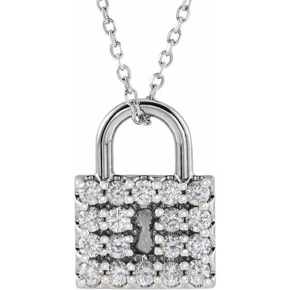 302® Jewelry Petite Lock Necklace with .50 Ct. Diamonds