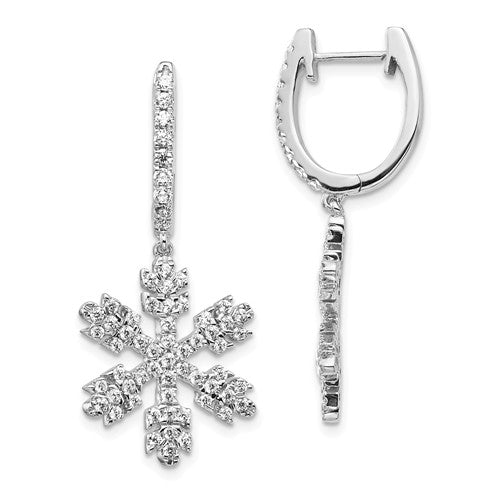Snowflake Dangle Diamond Earrings 1.01 Ct in 14K White Gold - Roxx Fine Jewelry