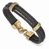Edward Mirell® Bronze Tango™ Cable and White Sapphire Bracelets EMB156 - Roxx Fine Jewelry