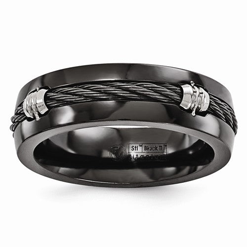 Edward Mirell Midnight Cable Collection Black Titanium and Sterling Silver Ring - Roxx Fine Jewelry