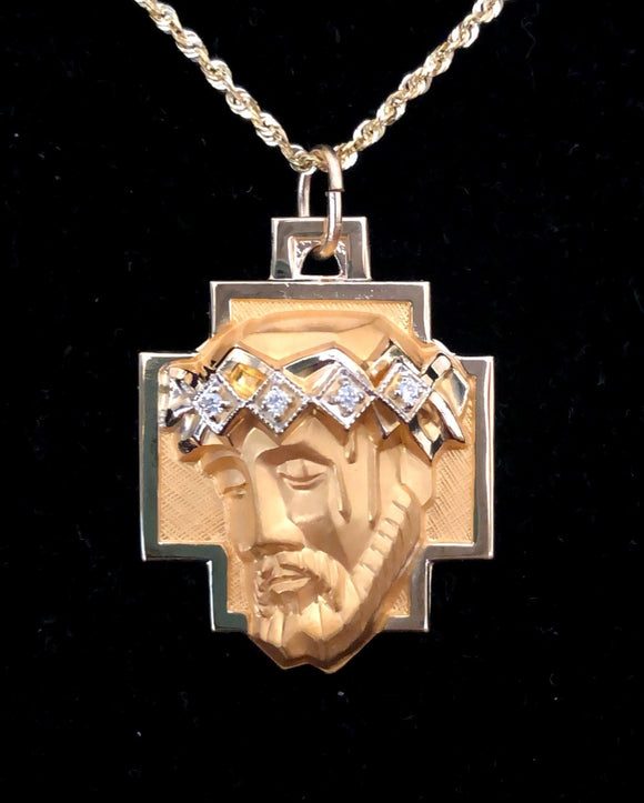 Face of Jesus Medal Pendant with Diamond Accents in 14K Yellow Gold