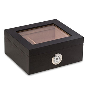"Humidor Lacquered Walnut ""Francisco"" Dark Espresso Contemporary Humidor - Roxx Fine Jewelry"