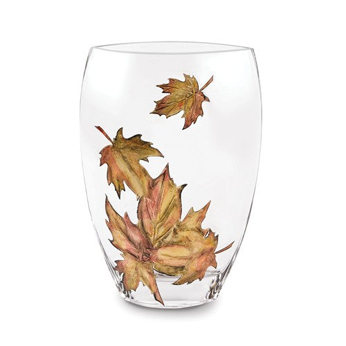 Badash® Fall Leaves Crystal Vase 11.75 inches - Roxx Fine Jewelry