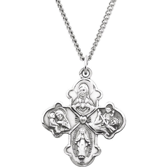 Gothic Four Way Cross Necklace in Sterling Silver