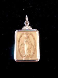 Miraculous Medal Rectangular in 14K Yellow Gold 23 x 15mm - Roxx Fine Jewelry