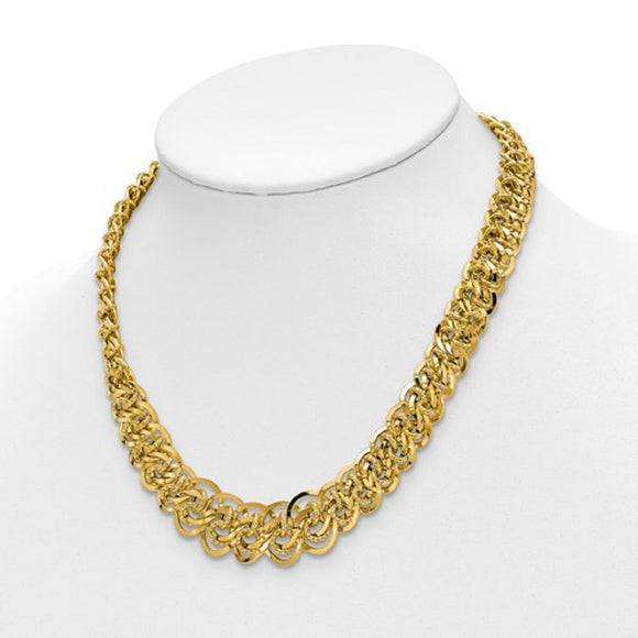 Contemporary Circles Woven Link Necklace in 14K Yellow Gold - Roxx Fine Jewelry