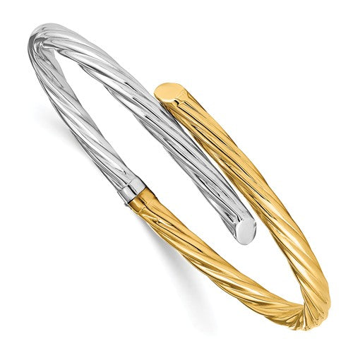 4.5mm Twisted Two Tone Spring Hinged Bangle in 14K Gold - Roxx Fine Jewelry
