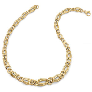 Faustina Double Figaro Status Necklace and Bracelet in 14K Yellow Gold
