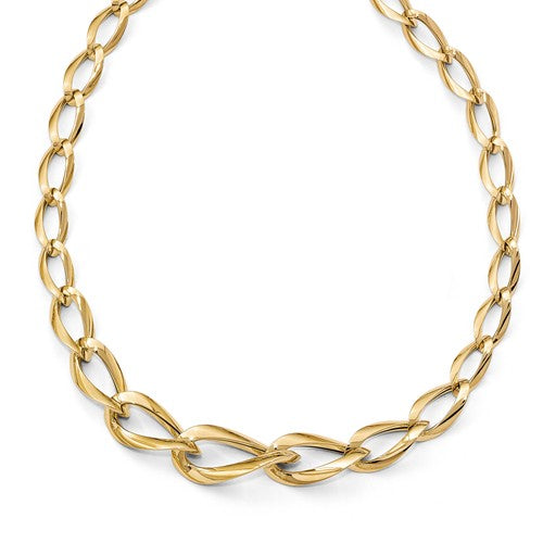 Janus Elongated Curb Chain Status Necklace in 14K Yellow Gold