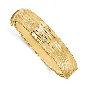 Textured Hinged Bangle 14.25mm in 14K Yellow Gold - Roxx Fine Jewelry