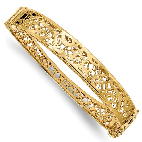 10.0mm Filigree Hinged Bangle in 14K Yellow Gold - Roxx Fine Jewelry