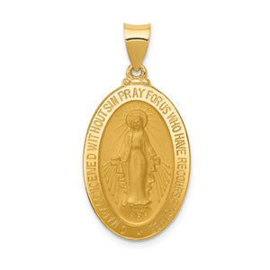 Miraculous Medal Oval 33 x 17mm in 14K Yellow Gold - Roxx Fine Jewelry