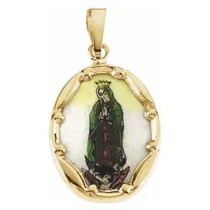 Our Lady of Guadalupe Hand Painted Porcelain in 14K Yellow Gold