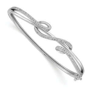 Sterling Shimmer™ Scroll Design Hinged Bangle Bracelet 2.00 Ct. CZ and Sterling Silver - Roxx Fine Jewelry