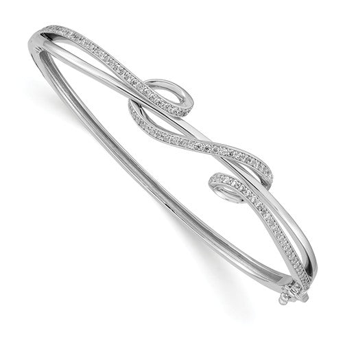 Sterling Shimmer™ Scroll Design Hinged Bangle Bracelet 2.00 Ct. CZ and Sterling Silver