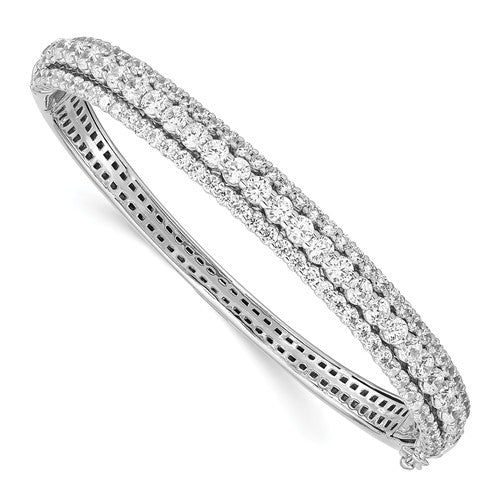 Sterling Shimmer™ Triple Row Hinged Bangle Bracelet 3.50 Ct. CZ and Sterling Silver - Roxx Fine Jewelry