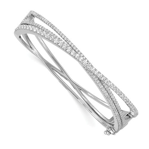 Sterling Shimmer™ Highway Design Hinged Bangle Bracelet 2.00 Ct. CZ and Sterling Silver