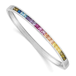 Prizma™ Rainbow CZ Sterling Silver Hinged Bangle Bracelet - Roxx Fine Jewelry