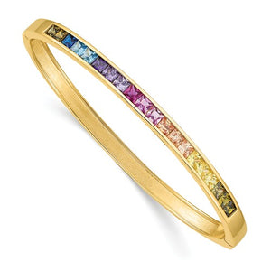 Prizma™ Rainbow CZ Gold Plated Sterling Silver Hinged Bangle Bracelet - Roxx Fine Jewelry