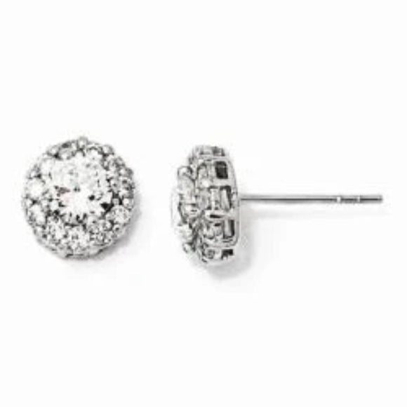 Cheryl M® Halo Journey CZ Post Earrings in Sterling Silver - Roxx Fine Jewelry