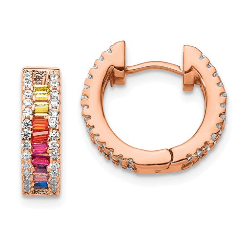 Prizma™ Rainbow CZ Rose Gold Plated Hinged Hoop Earrings - Roxx Fine Jewelry