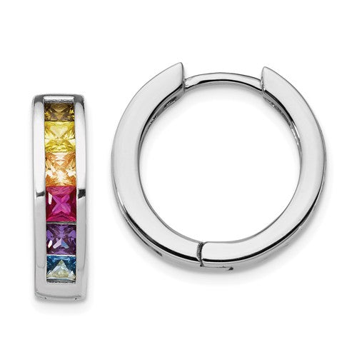 Prizma™ Rainbow CZ Sterling Silver Hoop Earrings - Roxx Fine Jewelry