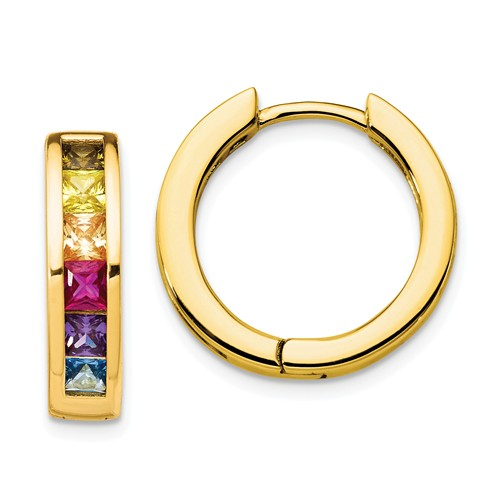Prizma™ Rainbow CZ Gold Plated Sterling Silver Hoop Earrings - Roxx Fine Jewelry