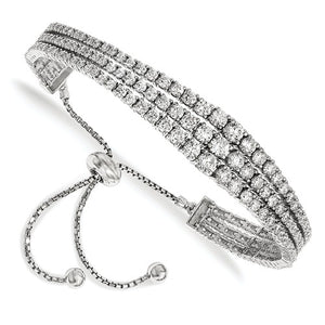 Sterling Shimmer™ CZ and Sterling Silver Three Row Graduated CZ Adjustable Bolo Bracelet - Roxx Fine Jewelry