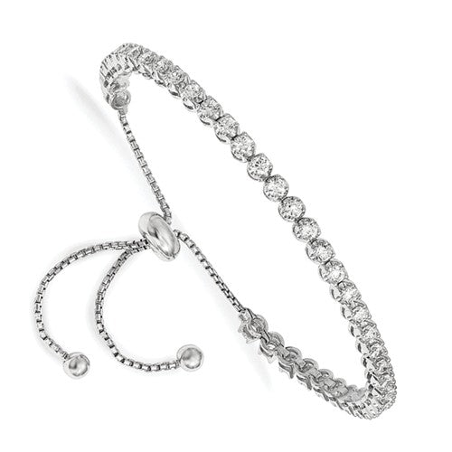 Sterling Shimmer™ CZ and Sterling Silver Bezel Set 1.25 Ct. Adjustable Bolo Bracelet - Roxx Fine Jewelry
