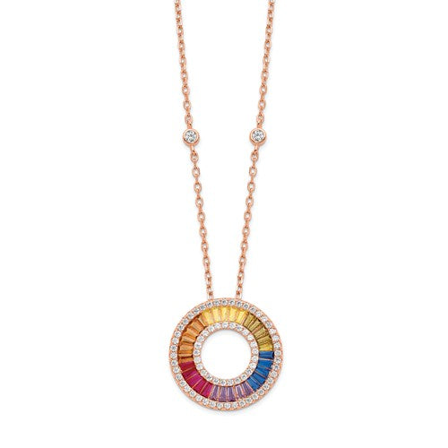 Prizma™ Rainbow CZ Rose Gold Plated Eternity Necklace - Roxx Fine Jewelry