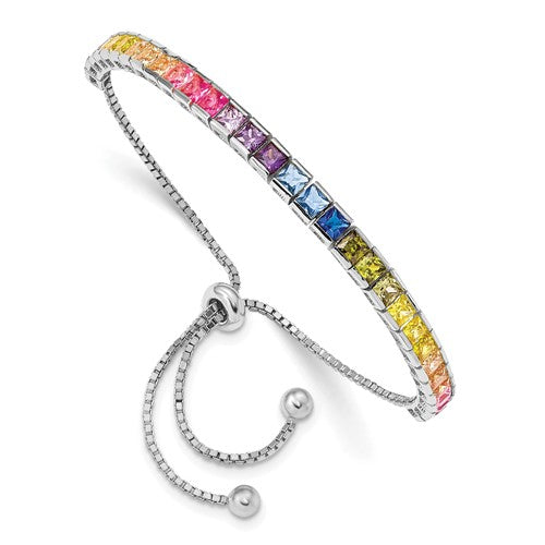 Prizma™ Rainbow CZ Sterling Silver Adjustable Lariat Bracelet - Roxx Fine Jewelry