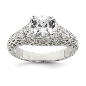 Faux and Fabulous™ 3.50 Ct Asscher CZ Filigree Ring in Sterling Silver - Roxx Fine Jewelry