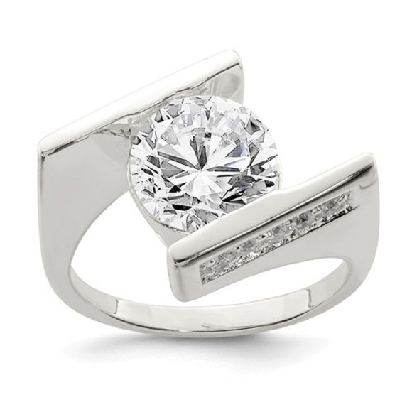 Faux and Fabulous™ 4.00 Ct CZ Modern Bypass Ring in Sterling Silver - Roxx Fine Jewelry