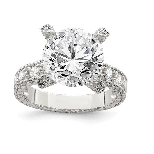 Faux and Fabulous™ 7.00 Ct TCW Round CZ Solitaire Ring with Accents Ring in Sterling Silver - Roxx Fine Jewelry