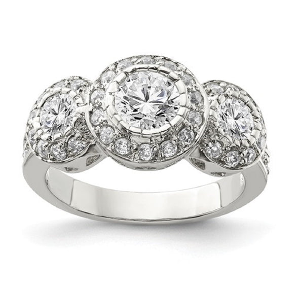 Faux and Fabulous™ 3.14 Ct Round CZ 3 Stone Halo Ring in Sterling Silver - Roxx Fine Jewelry