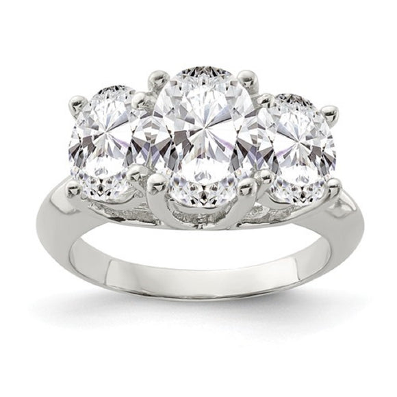 Faux and Fabulous™ 4.96 Ct Oval CZ 3 Stone Ring in Sterling Silver - Roxx Fine Jewelry