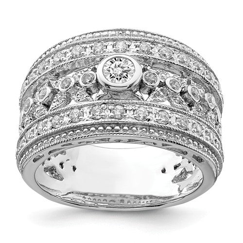 Faux and Fabulous™ 3.02 Ct. 12mm Wide Multi Stone Gypsy Band in Sterling Silver - Roxx Fine Jewelry