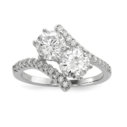 Faux and Fabulous™ 2.68 Ct Round CZ 2 Stone Ring in Sterling Silver - Roxx Fine Jewelry