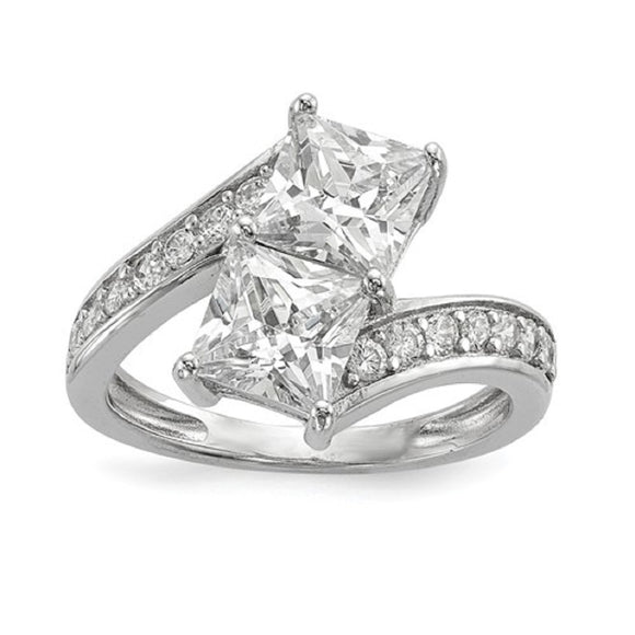 Faux and Fabulous™ 3.48 Ct Princess Cut CZ 2 Stone Ring in Sterling Silver - Roxx Fine Jewelry