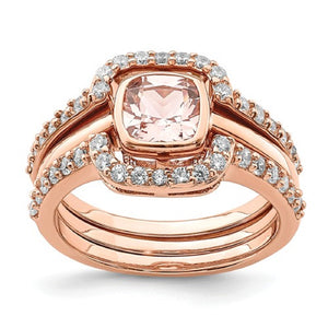 Faux and Fabulous™ 2.00 Ct Princess Morganite CZ Halo Wedding Ring in Rose-Gold-Plated over Sterling Silver - Roxx Fine Jewelry