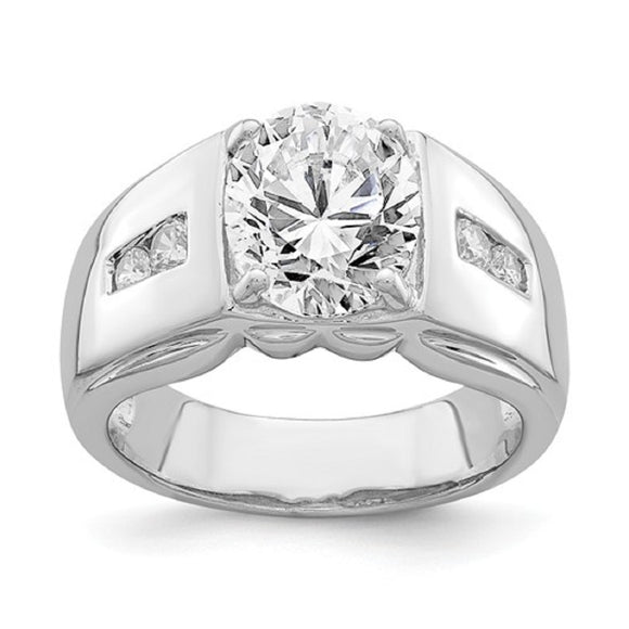 Faux and Fabulous™ 3.04 Ct Oval CZ Statement Ring in Sterling Silver - Roxx Fine Jewelry