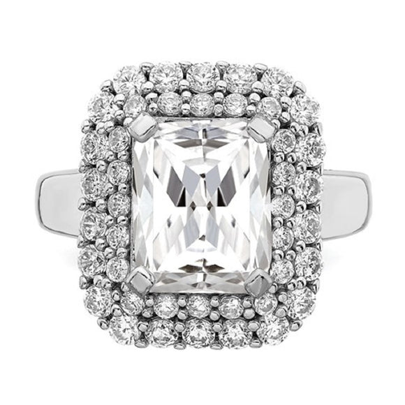 Faux and Fabulous™ 5.25 Ct Radiant CZ Double Halo Ring in Sterling Silver - Roxx Fine Jewelry